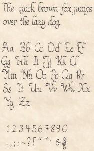 Calligraphy Sample - Alphabet, Symbols, Quick Brown Fox Jumps