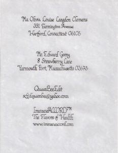 Calligraphy Sample - Postal and Internet Addresses