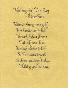 Calligraphy Sample - Robert Frost Poem