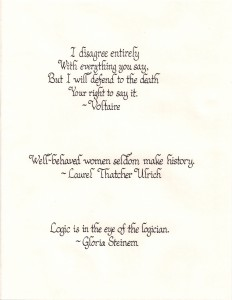 Calligraphy Sample - Words of Wisdom