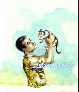 David Holding Scheherazade Kitten Up - They are Assessing Each Other - QueenBeeEdit Watermark