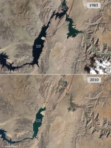 Lake Mead in 1985 (top image), as compared to Lake Mead in 2010. Drought has brought the reservoir to all-time lows this year. Credit - NASA