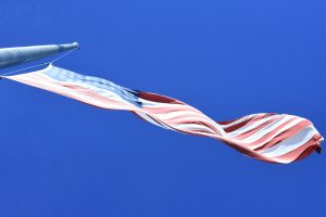 Flag flying at half-mast on September 11, 2016 at the Colebrook River Reservoir bridge. (Stephanie C. Fox)