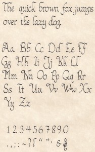 Calligraphy Sample - Alphabet, Symbols, Quick Brown Fox Jumps