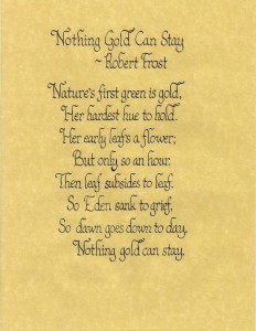 Calligraphy Sample - Robert Frost Poem