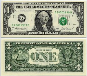 Federal Reserve Note - One Dollar - U.S. Bankster Currency